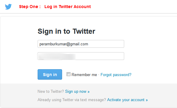 Step-1 : Log in Your Twitter Account