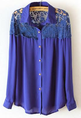 Blue Long Sleeve Lace Shoulder Chiffon Blouse