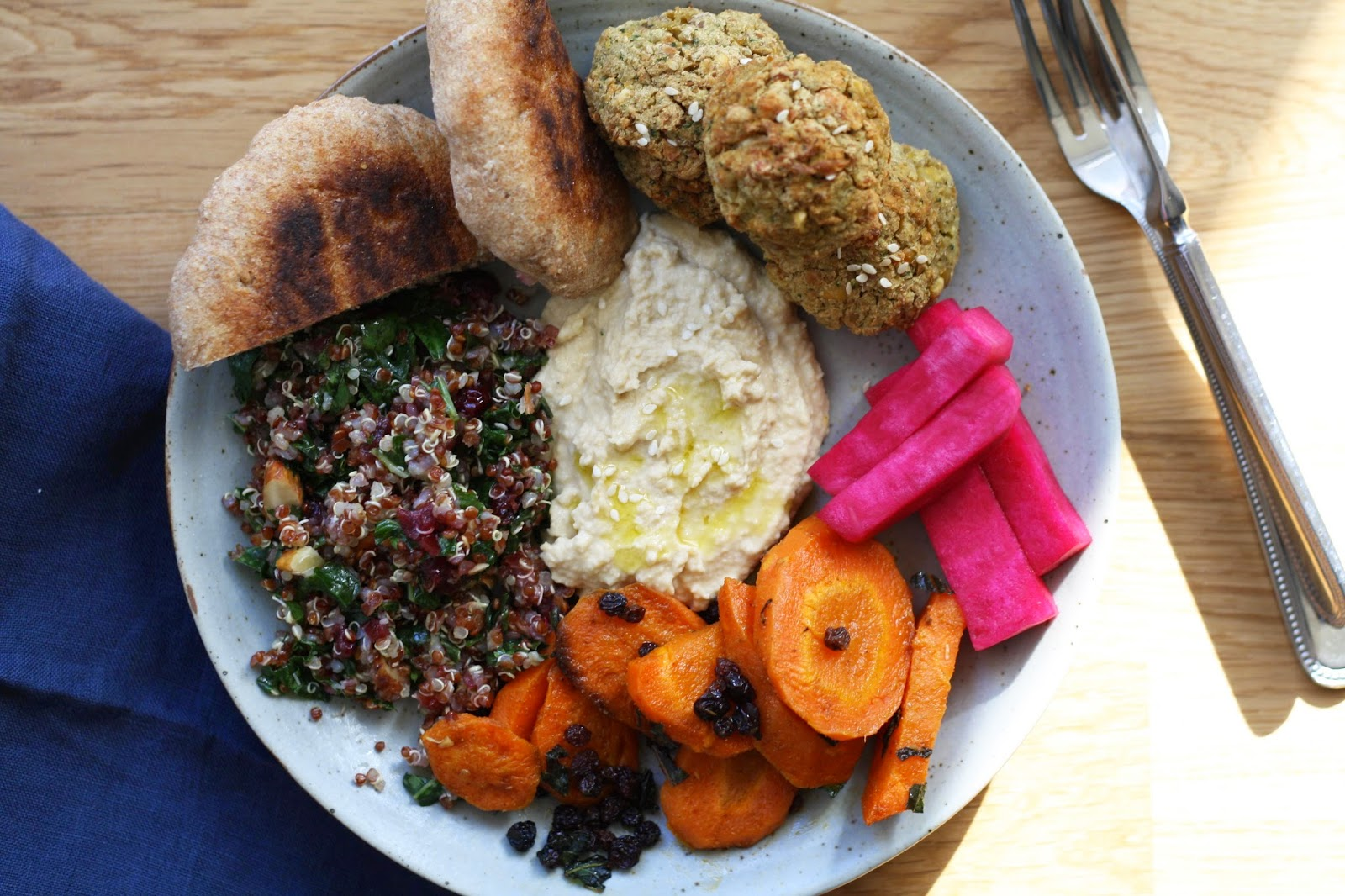 A Middle Eastern Lunch Plate with Pickled Turnips, Spicy Carrots + Quinoa | Sevengrams