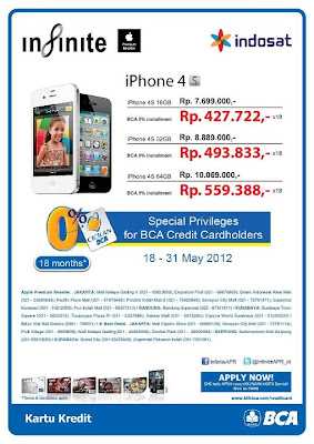Harga promo iphone 4S indosat kartu kredit bca diskon