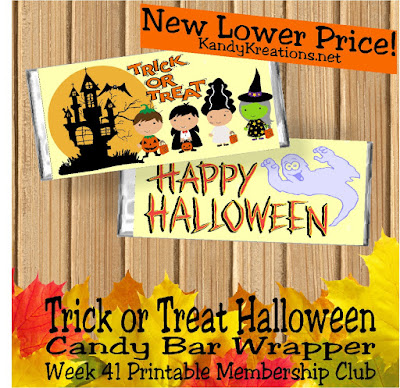 I love how cute these little trick or treaters are on this week's candy bar wrapper. They have no fear as they visit the spooky haunted house looking for Halloween candy and Halloween wishes. You can give them both with this fun Halloween Candy bar wrapper.