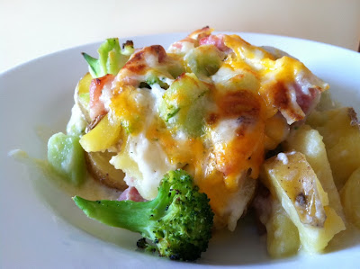 Scalloped ham, potato and broccoli casserole