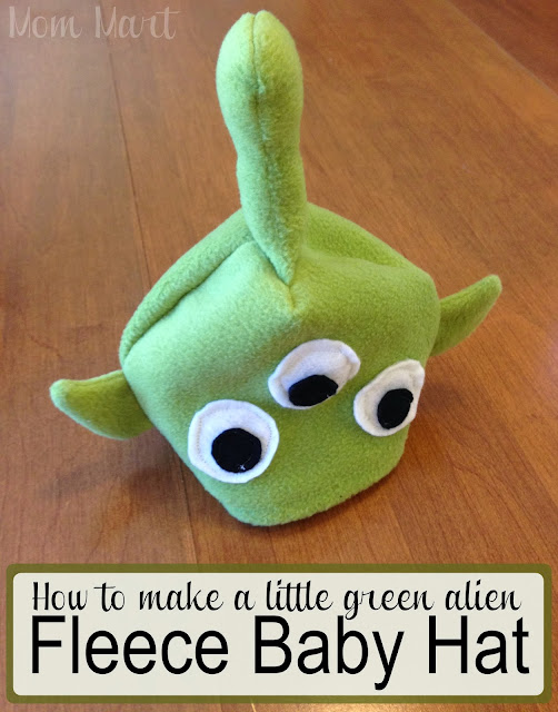 How to make a little green alien fleece baby hat #DIY #Halloween #ToyStory #HomemadeCostume