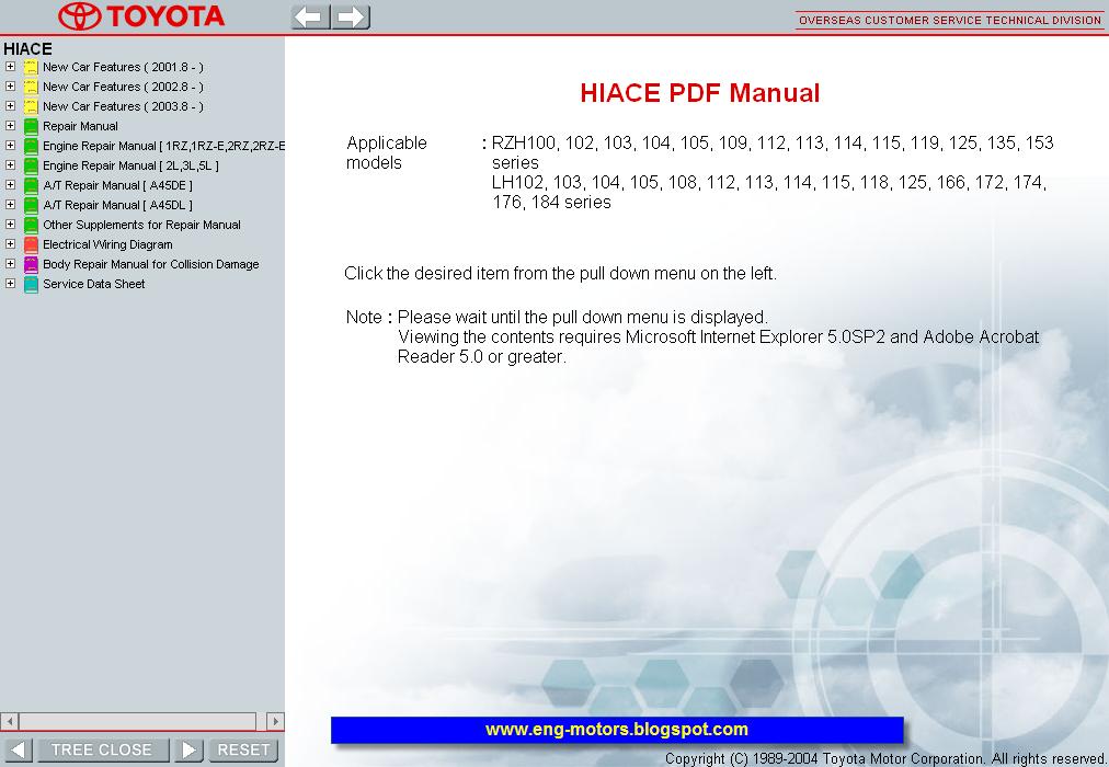 toyota hiace 2rz engine manual
