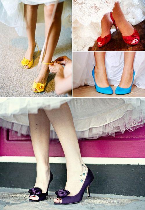 Pop of color wedding shoes