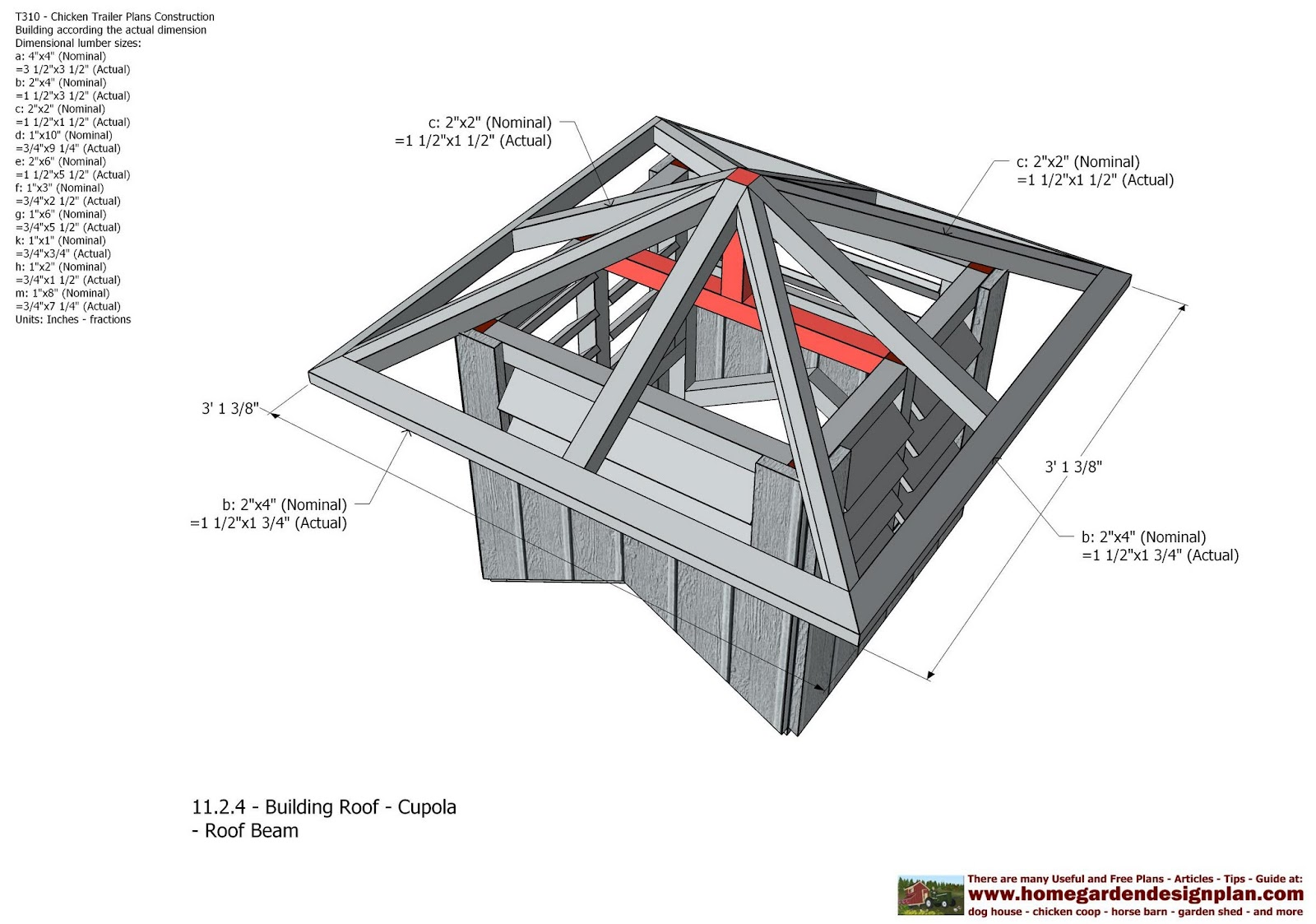 Shed plans building t310 chicken trailer plans for Free cupola blueprints