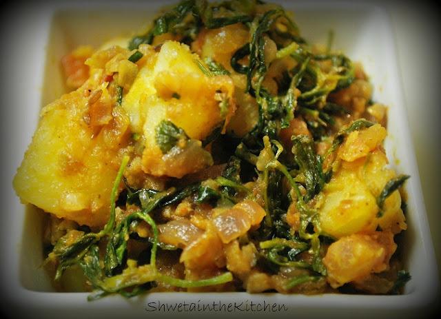 Shweta in the Kitchen: Aloo Methi - Potato with Fenugreek Leaves