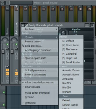 fruity Reeverb di mixer Fl studio