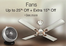 Fans (Ceiling, Table, Wall Fan, Exhaust Fan) : Upto 25% Off + Extra 15% Off, starts from Rs.746@ Amazon