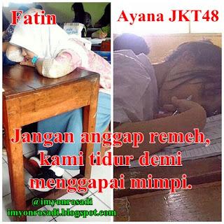 Fatin dan Ayana JKT8 tidur di kelas