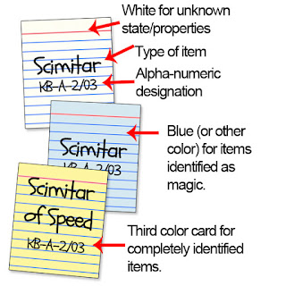 Tri-color note card system for handling magic items