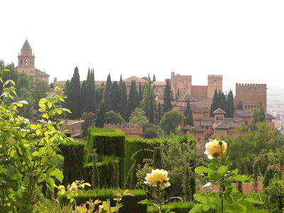 View of the Alhambra palace in Granada, Spain from the gardens of Generalife