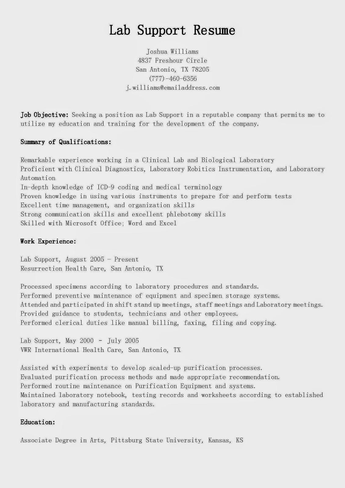 resume samples  lab support resume sample