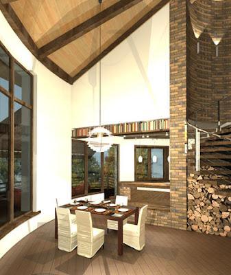 Визуализация гостинной круглого дома из соломы.
