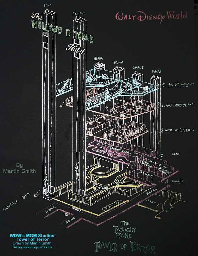 Disney park blueprints tower of terror disney hollywood for Florida blueprint