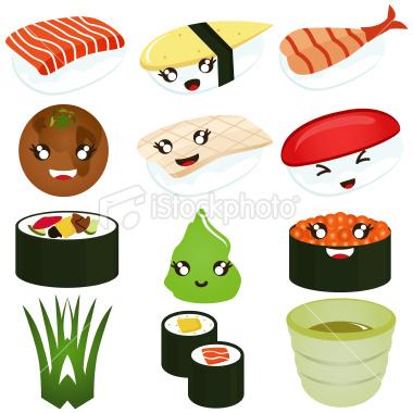 cute animated sushi