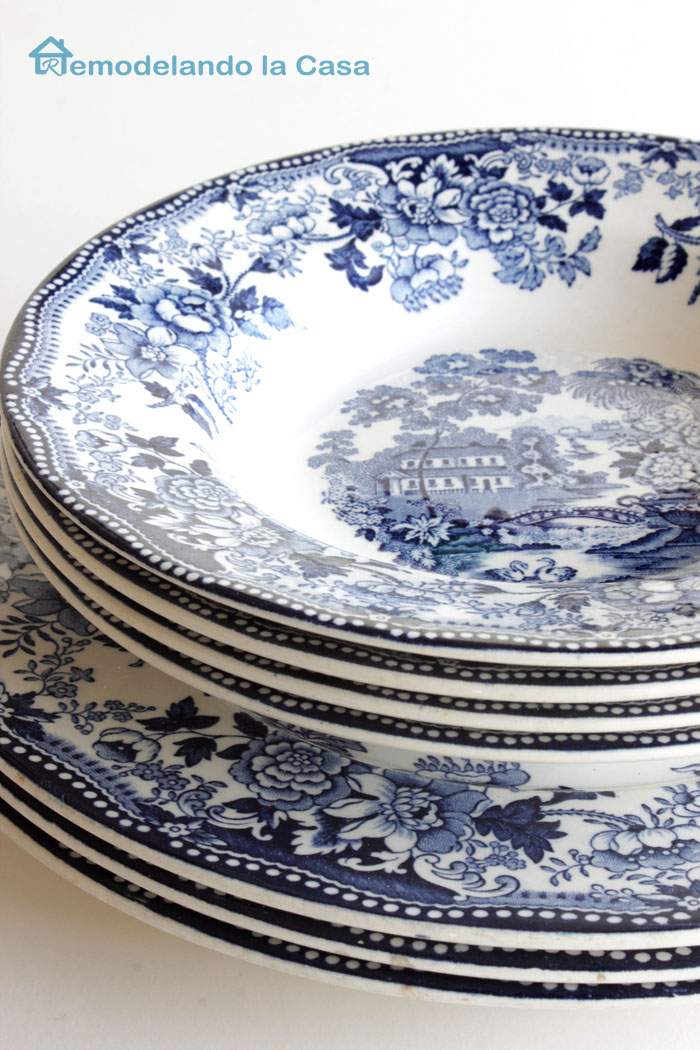 set of Blue Staffordshire plates made in England