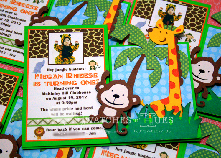 Swatches Hues Handmade with TLC Sidestep safari themed invitation