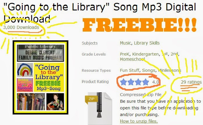 FREEBIE: Going to the Library Mp3 Song Download at TeachersPayTeachers