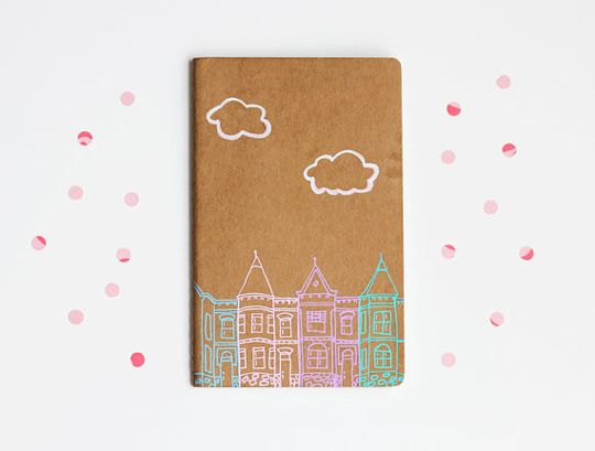 illustration of rowhouses in Washington, DC on a pocket journal