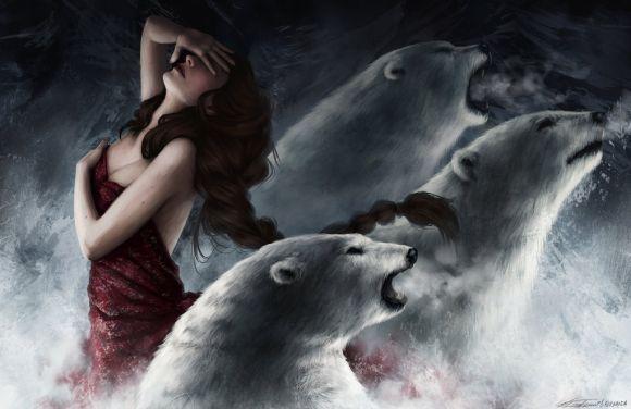 fernanda suarez ilustrações fantasia mulheres Ursos polares