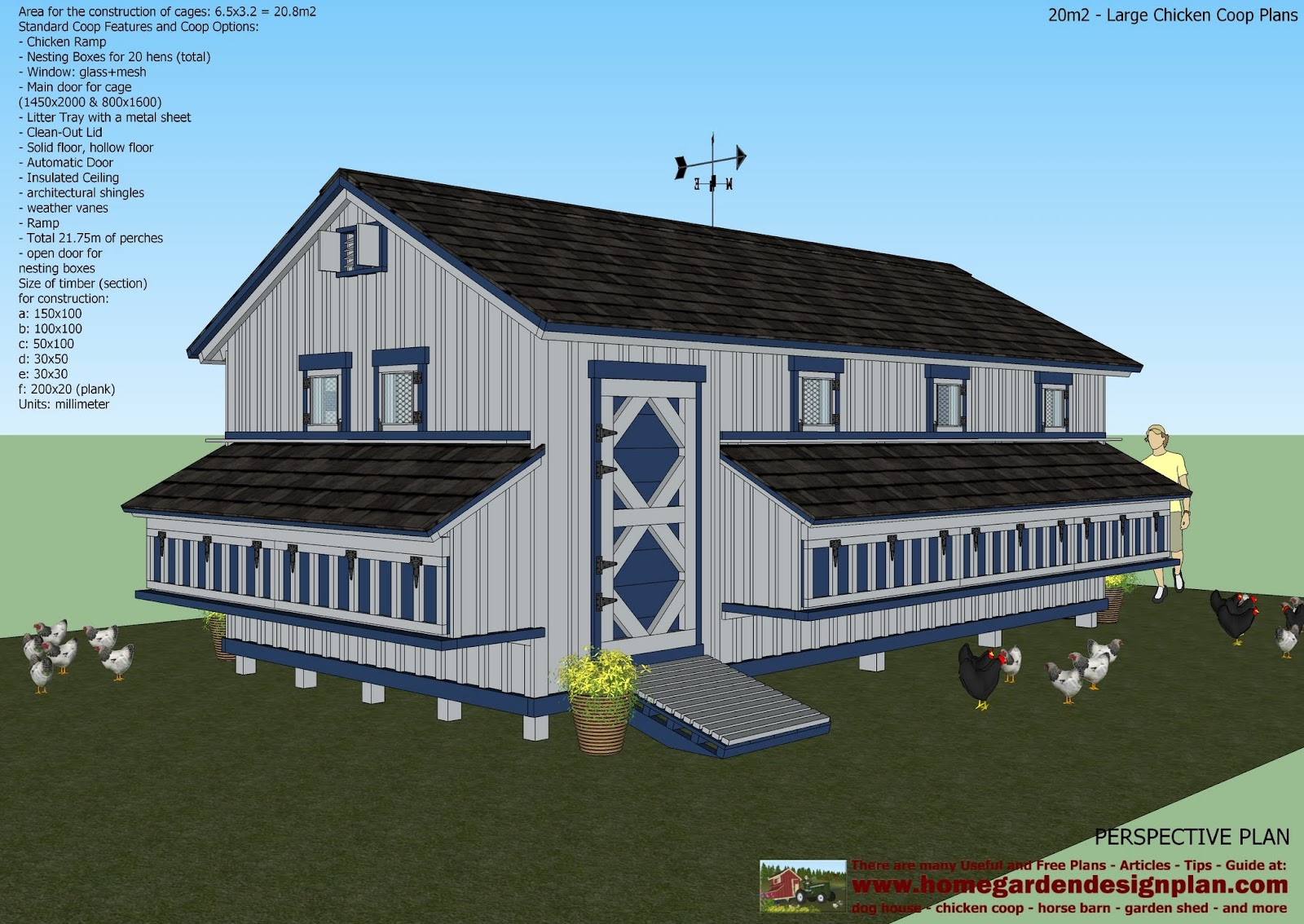 Home garden plans l310 large chicken coop plans chicken coop design how to build a for Hen house design plans