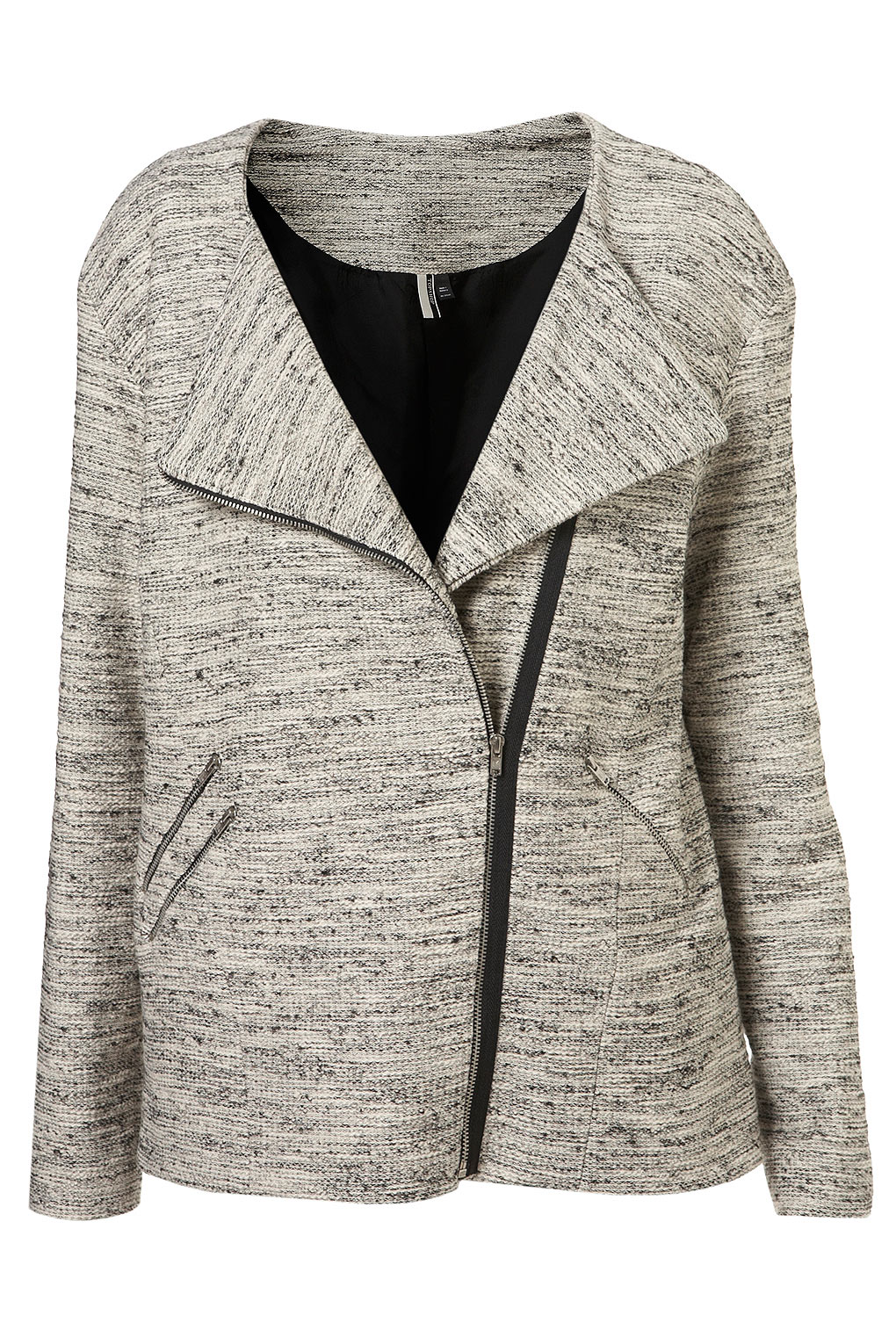 In a classic biker shape, with an asymmetric zip-up front fastening and silver trims. Let this jacket do the talking and throw on over a simple blouse, skinny jeans and a pair of killer heels for that added glam.