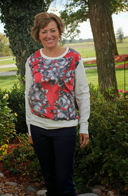 Luxe sweatshirt made from Mood Fabrics' vintage rose fabric and ponte