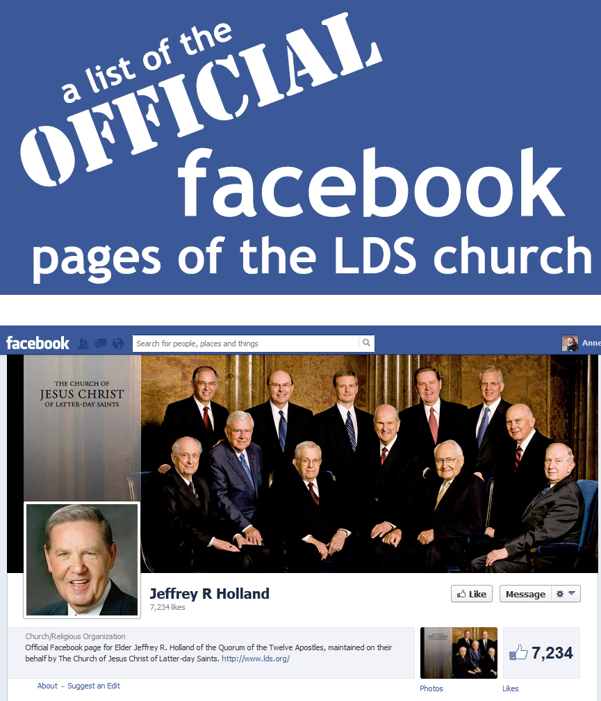 Churches Church Leadership: LDS Church Leaders Have Official Facebook Pages