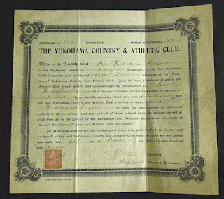 Debenture of the Yokohama Country and Athletic Club