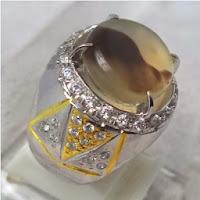 Cincin Batu Permata Agate Motif Yinyang