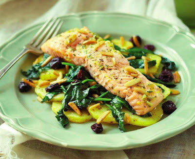 Roasted Salmon on Crispy Potatoes with Spinach and Almonds