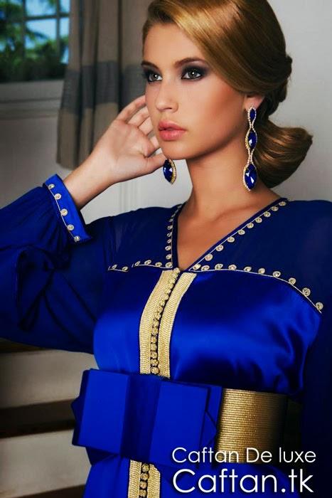 Caftan 2014 moderne bleu roi et or