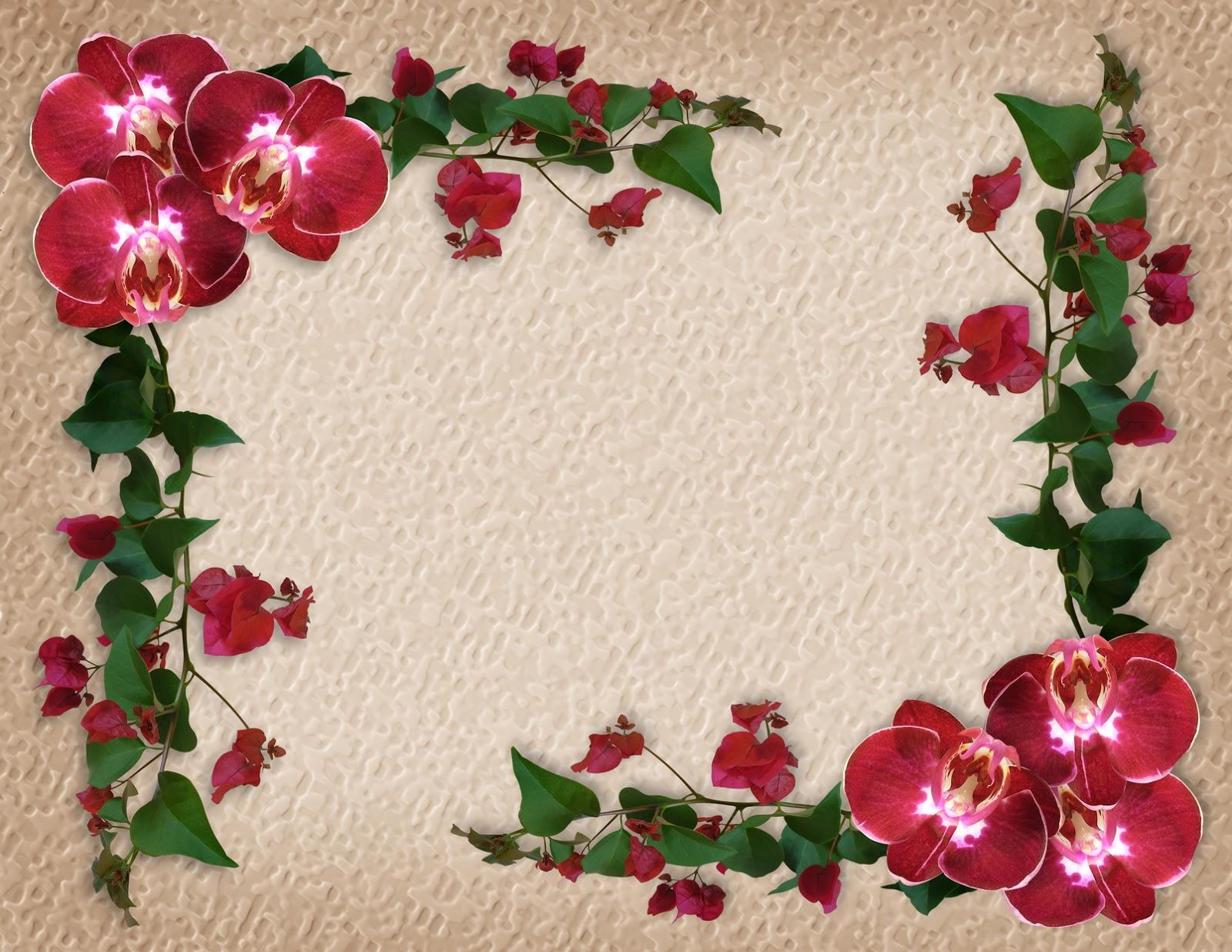 BANCO DE IMÁGENES: Marco con flores rojas para escribir mensajes ...