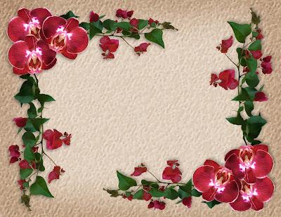Marco con flores rojas para escribir mensajes personalizados