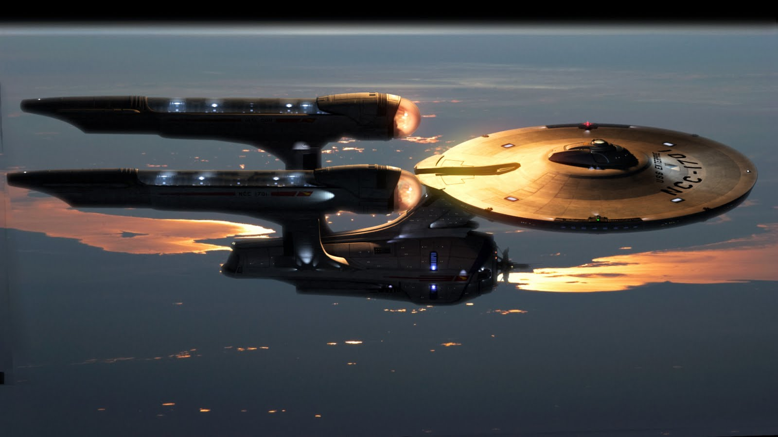 starship enterprise over Earth
