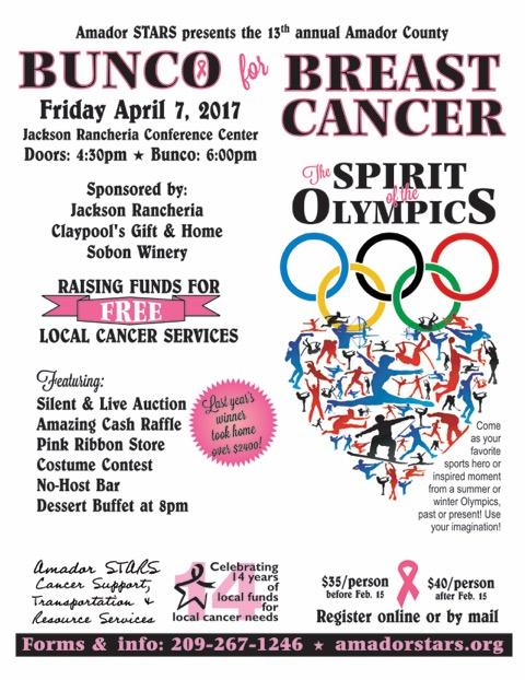 Amador STARS Bunco for Breast Cancer - Fri Apr 7