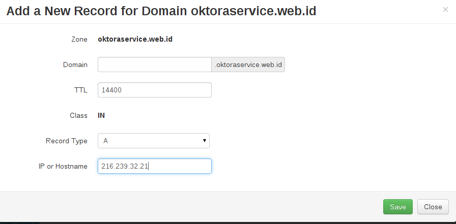 add new record for domain