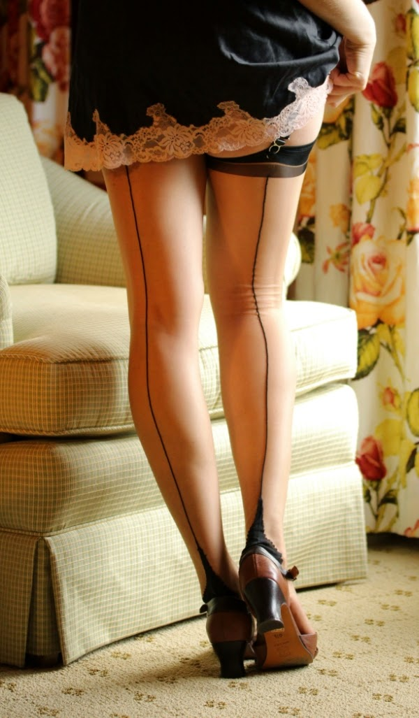 Vintage style contrast seamed stockings