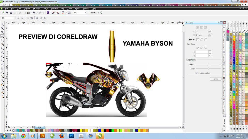 Contoh Preview gambar dan hasil cetakStriping Custom title=