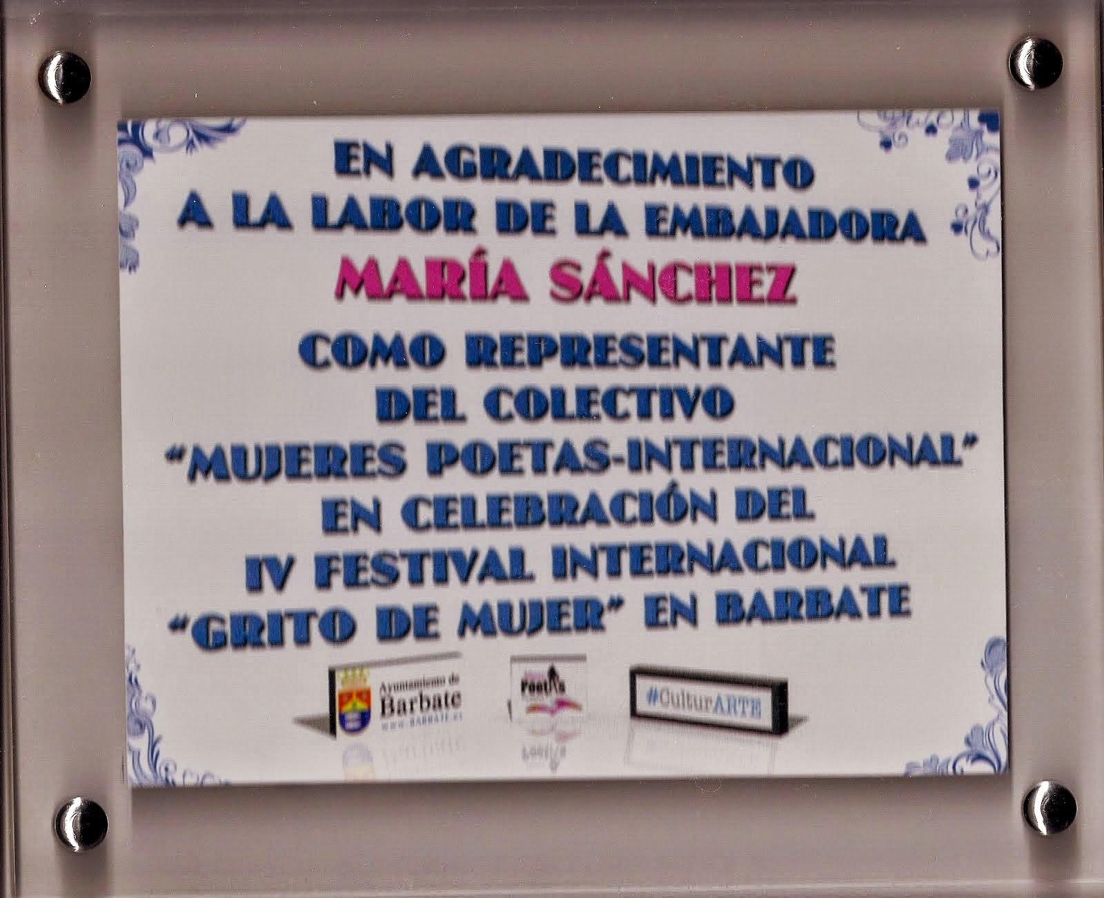 Placa de gratitud por CultuARTE- BARBATE