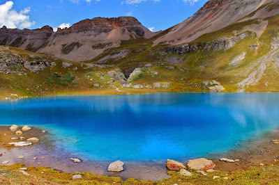 Glacier ground rock causes Ice Lake near Silverton Colorado to be so blue.