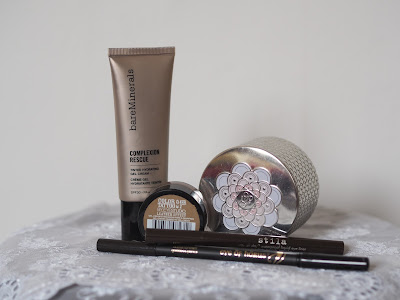 BareMinerals Complexion Rescue, Guerlain Meteorites, Maybelline 24 Hour Colour Tattoo in Creamy Beige, Eye of Horus Goddess Pencil in Brown, Stila Stay All Day Liquid Eyeliner
