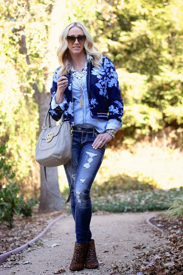 silver jeans and leopard booties