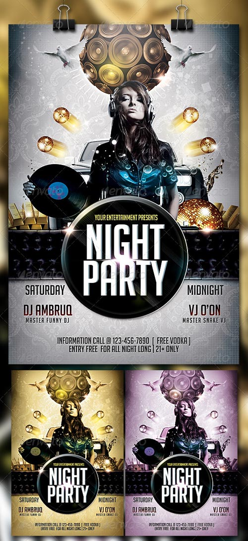 Night Party Flyer Photoshop PSD
