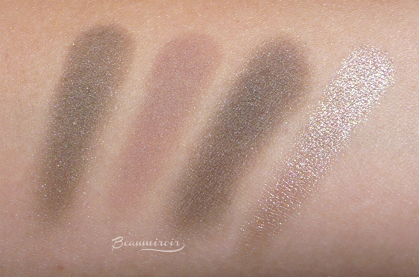 Guerlain Ecrin 4 Couleurs Les Fumes: swatches of all 4 shades