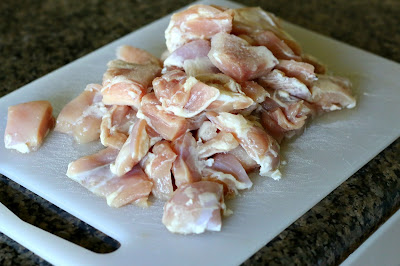 cut the boneless skinless chicken thighs into bite size pieces