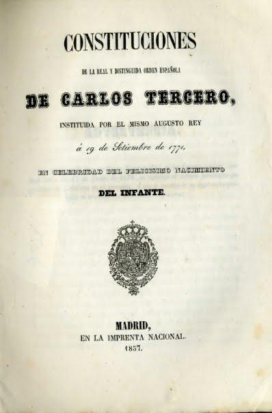1857 CONSTITUCIONES DE LA REAL Y DISTIGUIDA ORDEN
