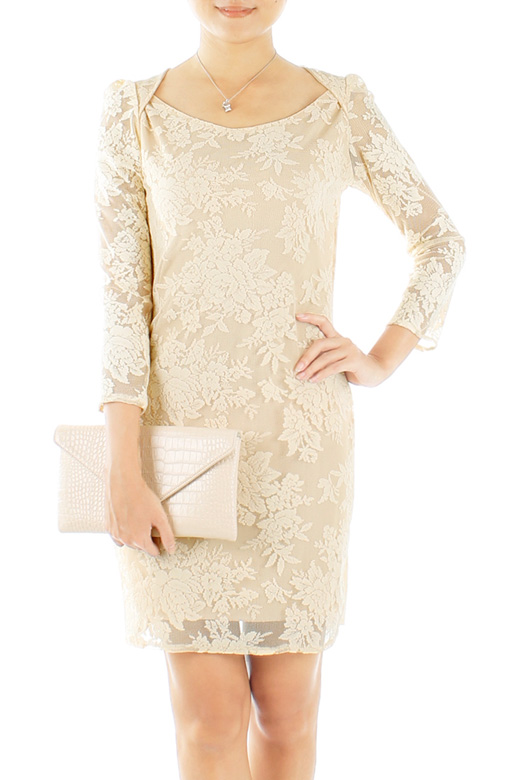Cream Uptown Posh Lace Dress with ¾ Sleeves