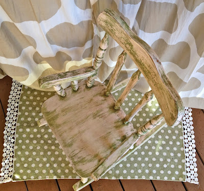 child's antique rocking chair after pink green